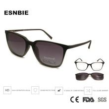 ESNBIE TR90 Ultra-Light Black Nerd Glasses Men Clip On Sunglasses Polarized Women Magnets Tr90 Lunette De Vue Homme