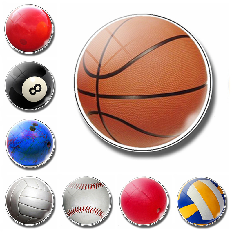 Ball 30MM Fridge Magnet Glass Basketball Volleyball Billiards Exercise Kid Gift Refrigerator Magnetic Stickers Note Holder Home in Fridge Magnets from Home Garden
