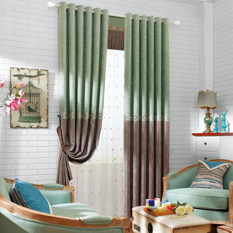 Chenille shading sitting room balcony luxury bedroom for Types of curtains