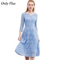 ONLY PLUS Sky Blue Lace Dress Casual Women Leaf Pattern Slim A Line Autumn 2017 Belt