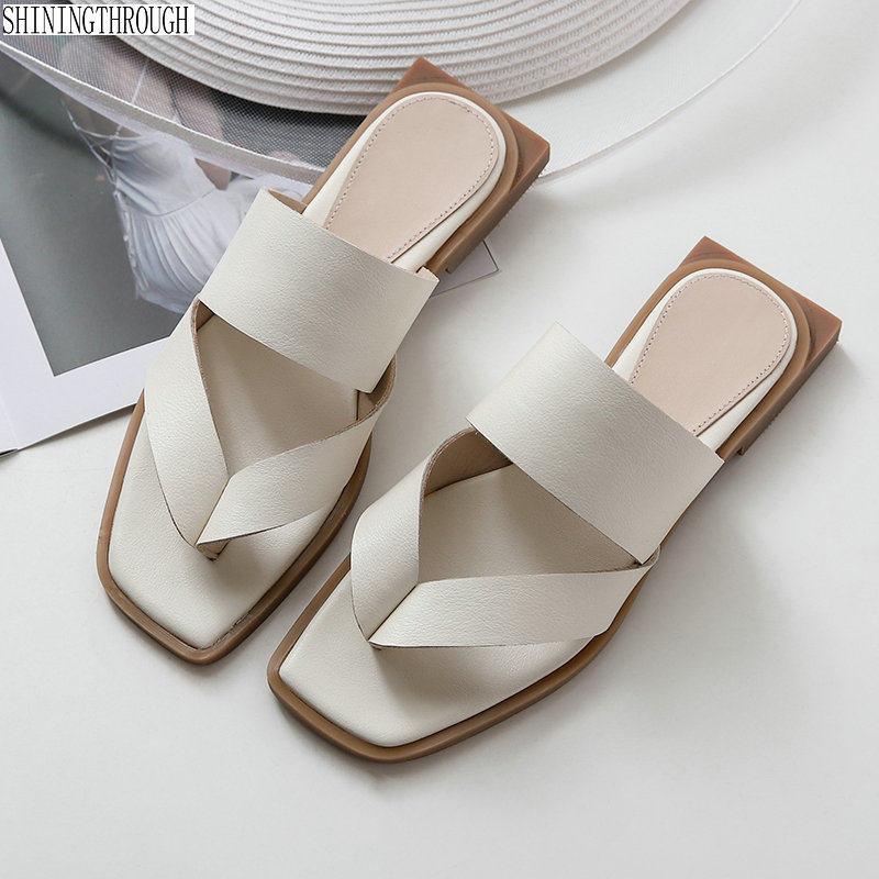 100 cow leather flats Women slippers 2019 New Summer flip flop shoes woman sandals Party Casual
