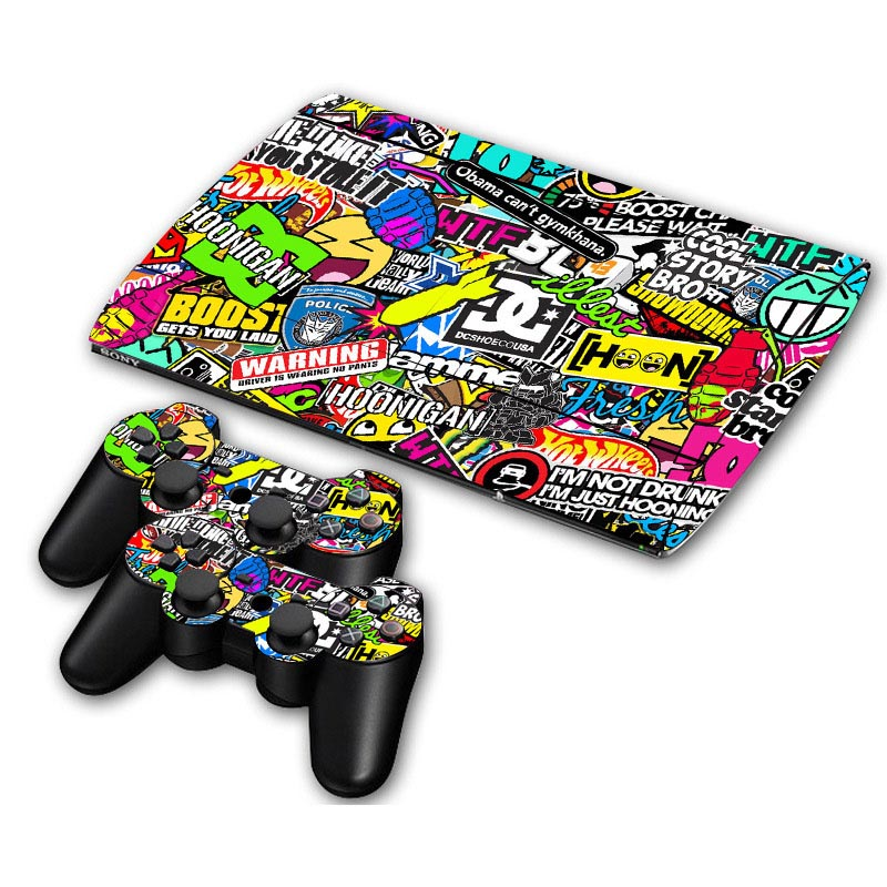 Bomb Vinyl Decal Skin Sticker For PS3 Super Slim 4000 Console Skins+2PCS Stickers For PS3 Controller Joystick Gampad Vinyl Skin(China)
