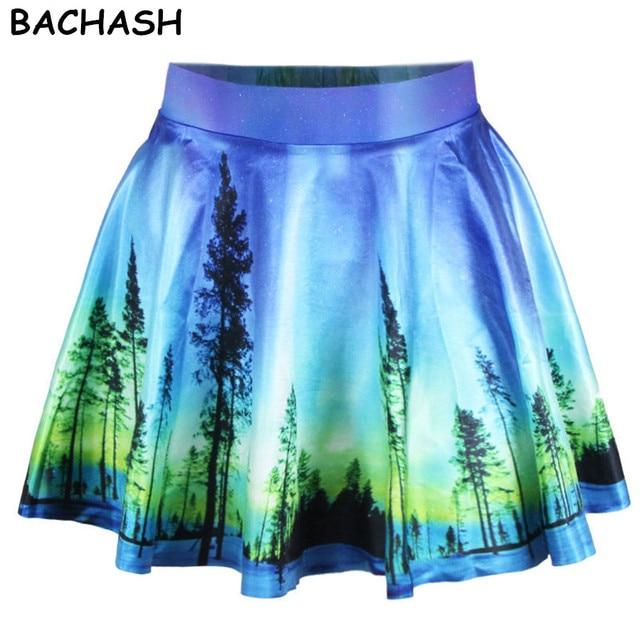 BACHASH 2018 Spring New Style Starry Night Print Pleated Skirt Vintage Oil  Painting Tie-Dye Harajuku Saia Tutu Mini Skirt 96e8d66be18e