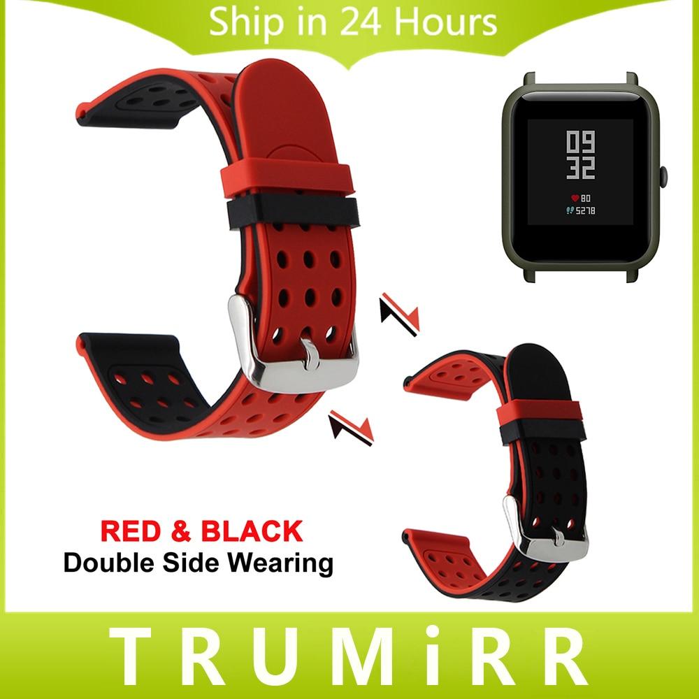 20mm Caoutchouc Bracelet En Silicone Double Face Portant pour Xiaomi Huami Amazfit Bip PEU RYTHME Lite Jeunes Montre Smart Watch Bracelet Au Poignet sangle