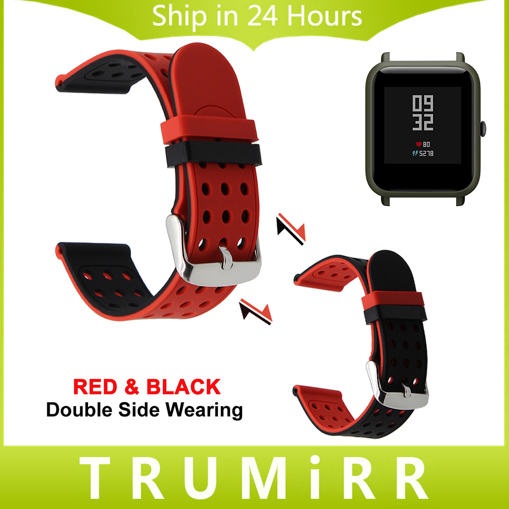 20mm Silicone Rubber Watchband Double Side Wearing for Xiaomi Huami Amazfit Bip BIT PACE Lite Youth Smart Watch Band Wrist Strap mijobs 20mm silicone wrist strap protective case cover plastic pc shell for huami xiaomi amazfit bip bit pace lite smart watch