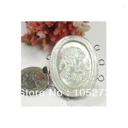 Nouveau Arriver exquis coquille fermoir 3 brins sculpté fille camée mère de perle mode collier Bracelet bijoux fermoir en gros