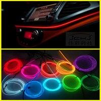 2M Auto Car Interior LED EL Wire Rope Tube Line Flexible Neon Light Glow El Salon