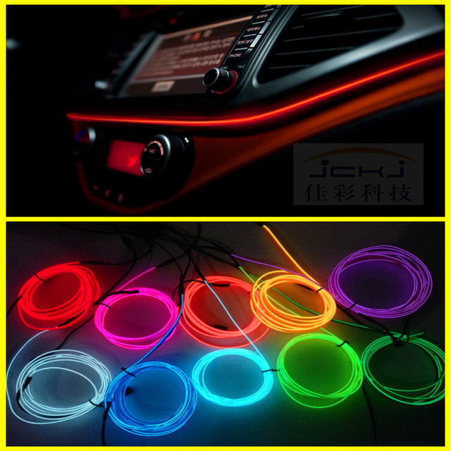 jingxiangfeng 2 m auto voiture int rieur led el fil corde tube ligne flexible neon light glow el. Black Bedroom Furniture Sets. Home Design Ideas
