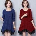 Мода Плюс размер женщин рубашки 2016 осень зима Яркий шелк кисточкой аппликации с длинным рукавом тройник топы основные платья женский
