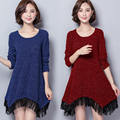 Fashion Plus size women shirts dress 2016 autumn winter Bright silk tassel appliques long sleeve tee tops basic dresses female