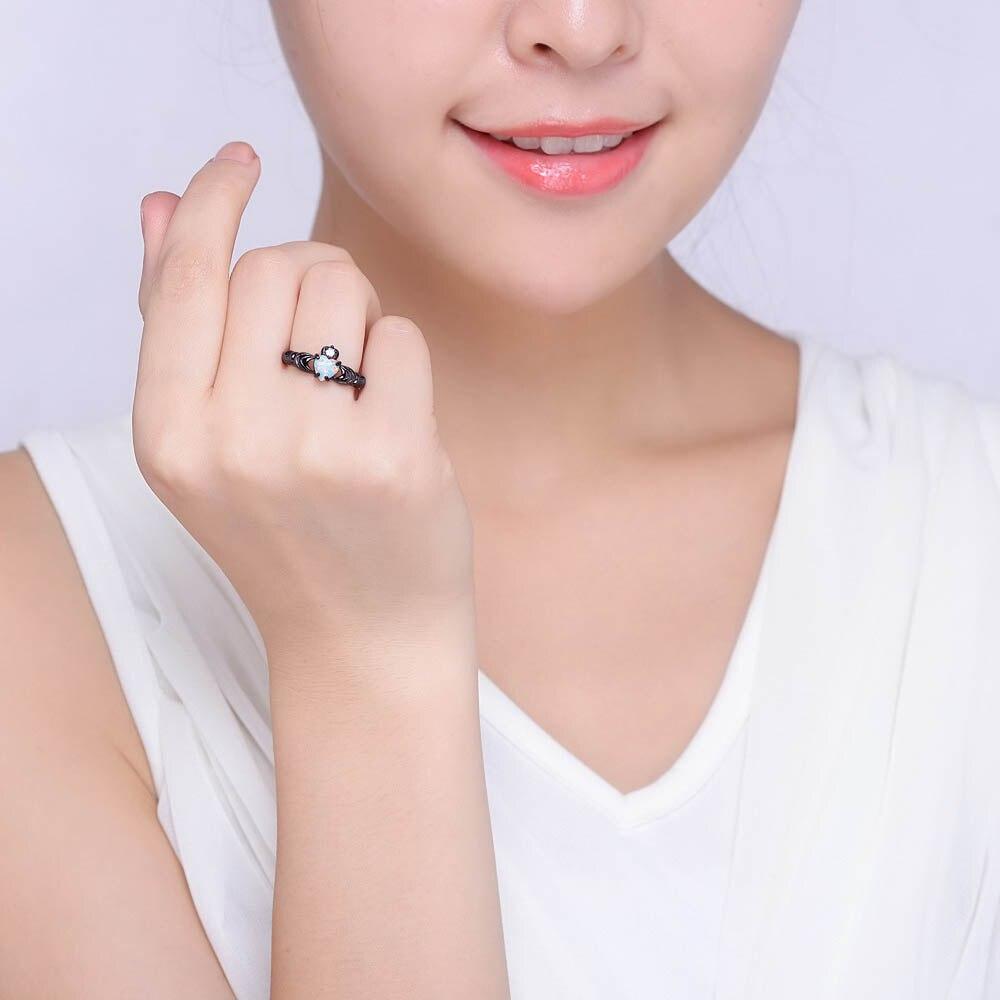 Elegant Heart Cut Rainbow Opal Claddagh Ring Fashion White CZ ...