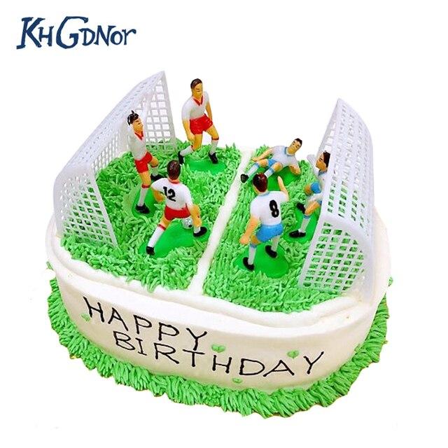 Khgdnor 8pcs Soccer Football Cake Topper Player Birthday Cake
