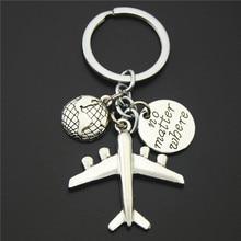 1PC Earth Airplane Keychains No Matter Where Pendant Travel Keyring Friendship Best Friend Jewelry Diy Handmade