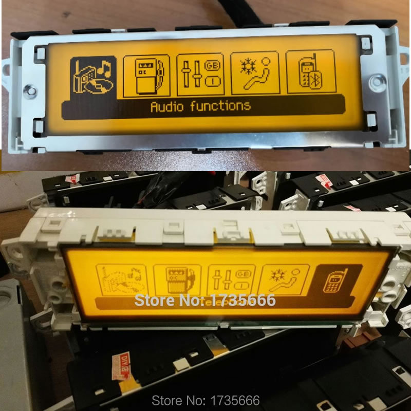Original Screen Support USB & Bluetooth Display LCD Yellow Monitor 12 Pin For Peugeot 307 407 408 c5