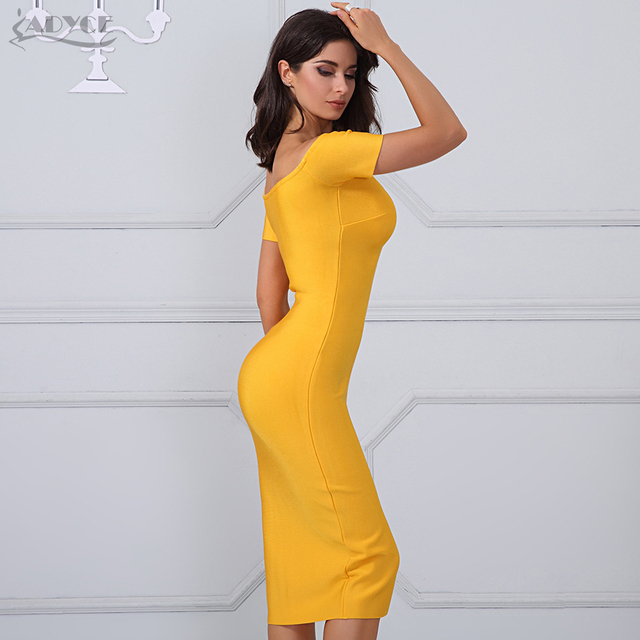 Adyce 2017 Woman Summer Bandage Dress Sexy Yellow Off The Shoulder Short Sleeve Zipper Front Both Side wear Bodycon Party Dress