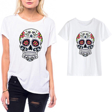 LUSLOS Floral Skull Print Women Summer T Shirt Female Short Sleeve O-Neck White Tees Casual Streetwear Clothes Tops