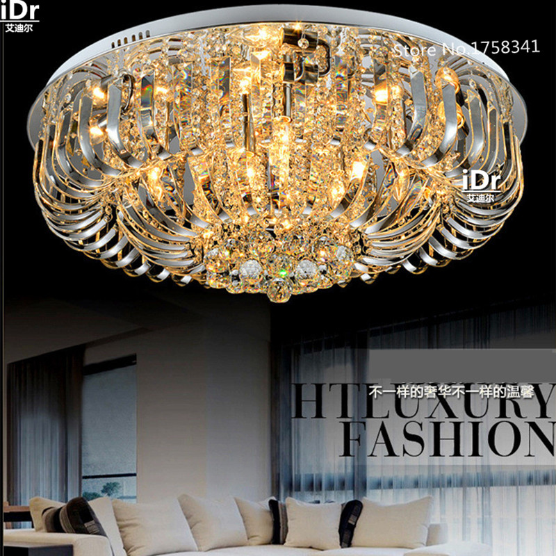 Round LED crystal ceiling lights living room modern minimalist living room lamp bedroom lighting fixtures restaurant