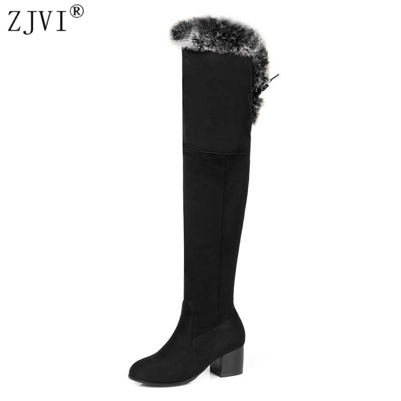 ZJVI woman nubuck autumn winter over the knee boots women thigh high boots ladies 2018 square heels thick plush warm shoes