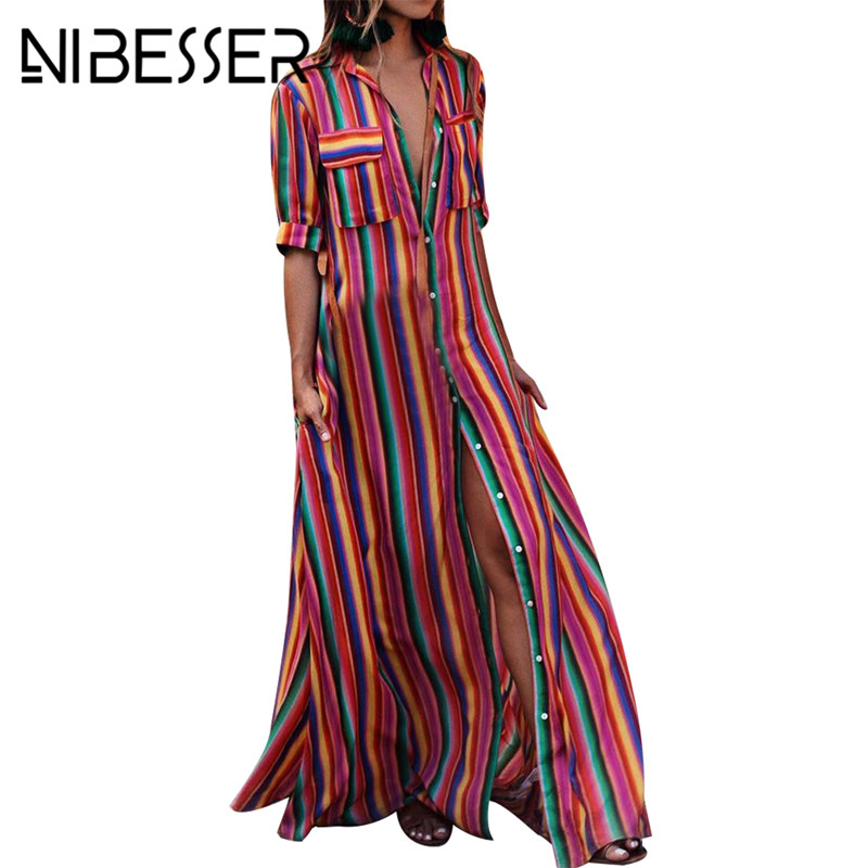 NIBESSER Frauen Sommer Strand Maxi Kleid 2018 Sexy High Split Sommerkleid Mode Bunte Striped Print Boho Lange Party Kleid Robe