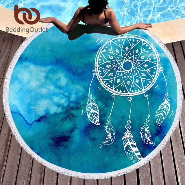 BeddingOutlet Dreamcatcher Round Beach Towel Pink and Blue Tassel Tapestry Yoga Mat Watercolor Printed Toalla Blanket 150cm