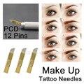 50PCS PCD 12 Pins Tattoo Needles Permanent Makeup Eyebrow Microblading Blades Manual Tattoo Supplies Hardle Needle