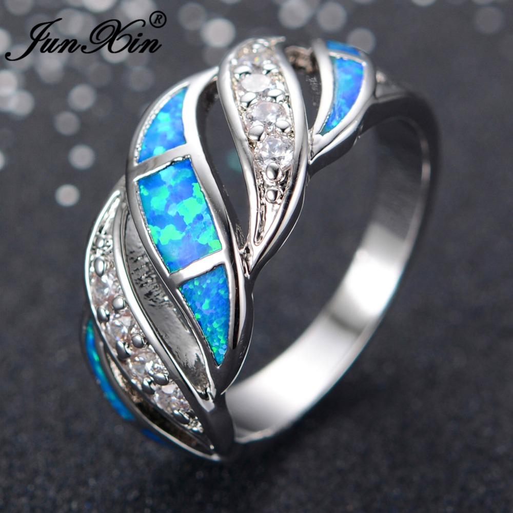 JUNXIN Gorgeous Women Blue Fire Opal Ring Fashion 925 Sterling Silver Filled Jewelry Engagement