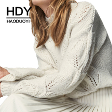 HDY Haoduoyi 2018 New Arrival Beige Knit Half-Necked Openwork Loose Pullover Sweater Autumn Winter