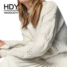 HDY Haoduoyi 2018 New Arrival Beige Knit Half-Necked Openwork Loose Pullover Sweater Autumn Winter(China)