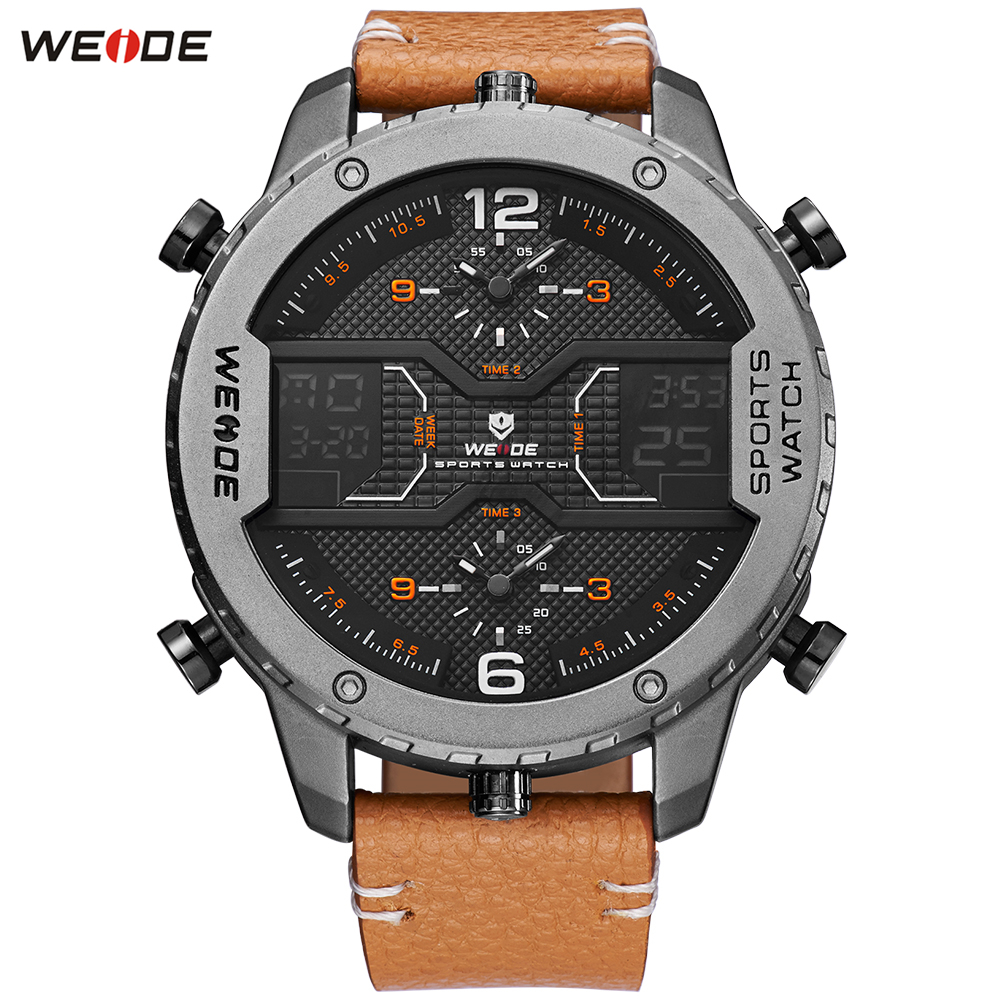 Fashion Top Sale WEIDE Alarm Week Watch Mens Digital Quartz Movement Dress Watch Men Leather Band Business Wristwatches Relogios купить недорого в Москве