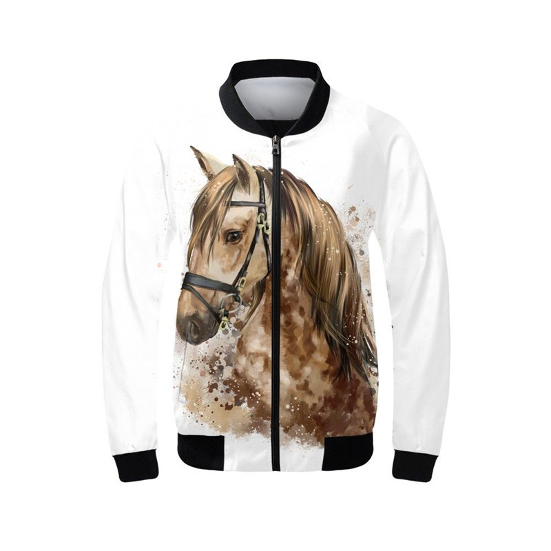 Women s Bomber Jacket Fashion Cool Animal Horse Prints Coats Stand Up Collar Full Sleeves Ribbed