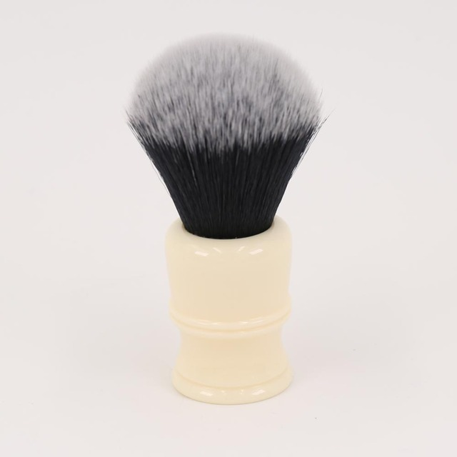 24 Mm Milky White Resin Handle Tuxedo Knot Men's Shaving Brushes by Yaqi