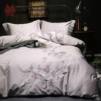 Palace Style Floral Embroidery 100 Cotton Tribute Silk Bedding Sets Light Grey Duvet Cover Set Sabanas