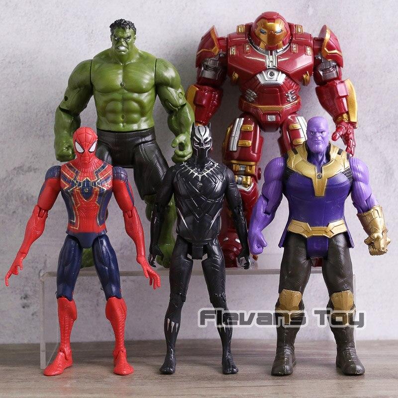 5pc/set Avengers Infinity War Figures Hulk Hulkbuster Spiderman Black Panther Thanos Action Figure Model Kids Toys