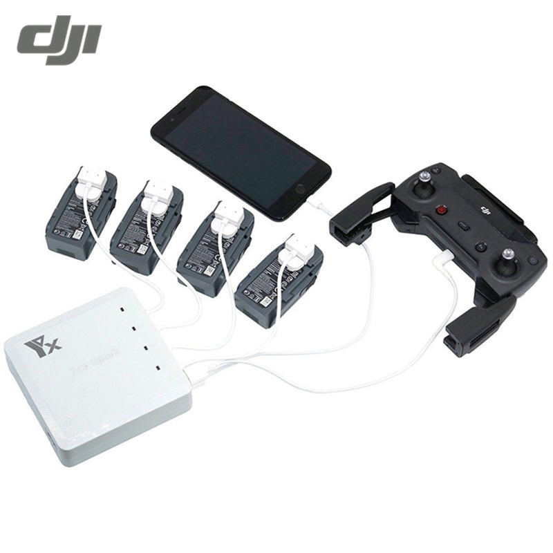 DJI Spark Drone RC Quadcopter FPV 6 In 1 Multi Battery Dual USB Remote Controller Phone Charger Hub Parallel brand 5 in 1 spark battery remote controller charger parallel intelligient multi charging hub for dji spark drone free shipping