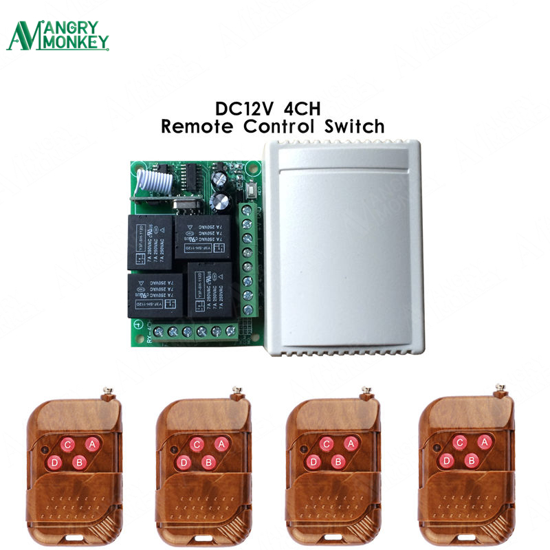 433 Mhz Wireless Remote Control Switch DC 12V 4CH relay 1527 Learning code Receiver Module and 4pcs 433Mhz RF Remote Transmitter universal 433 mhz 2 channel remote control learning code 1527 relay receiver module wireless diy garage gate door switch dc 12v