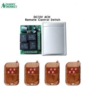 433 mhz sem fio interruptor de controle remoto dc 12 v 4ch relé 1527 módulo receptor código aprendizagem e 4 pces 433 mhz rf transmissor remoto
