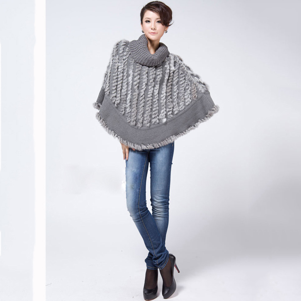 Buy 2017 Hot Sale Real Knitted Rabbit Fur Poncho For Women Shawl Fashion Cape