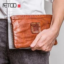 AETOO Soft leather envelope bag men trend fashion casual hand