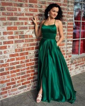 Ruby Bridal 2019 Vestidos De Fiesta Long A-line Evening Dresses Green Soft Satin Prom Party Dresses Vestido Longo Festa P1945