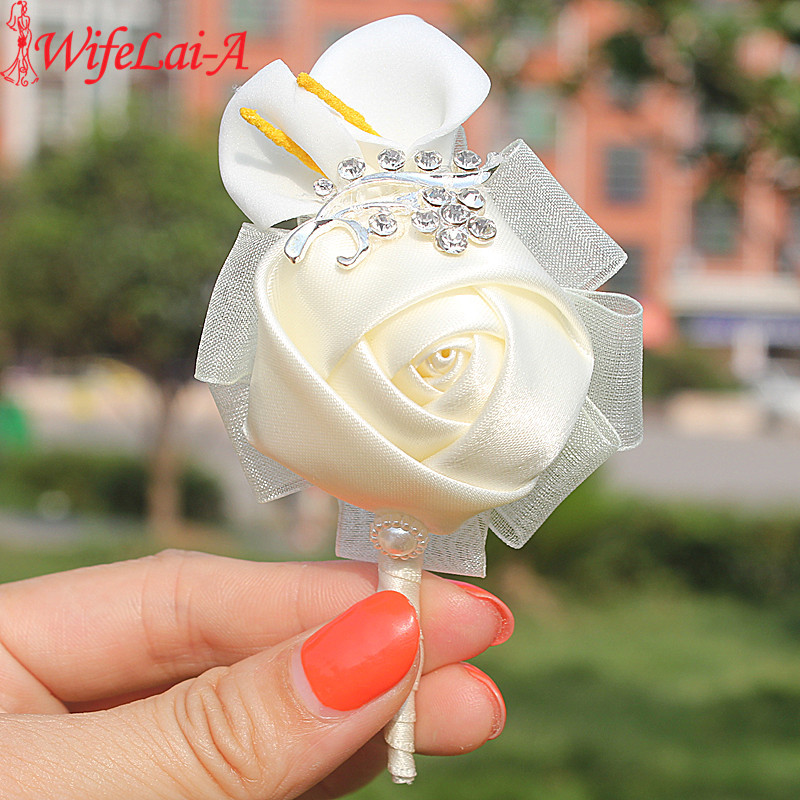 High Quality 2pcs/lot Ivory Calla Lily Rose Flowers Wedding Corsages Boutonniere Groom Diamond Crystal Wedding Brooch Flowers