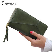 Slymaoyi Geometric Wristband Women Wallets Female Long Zipper Purse High Capacity Coin Wallet Purses Brand Fashion