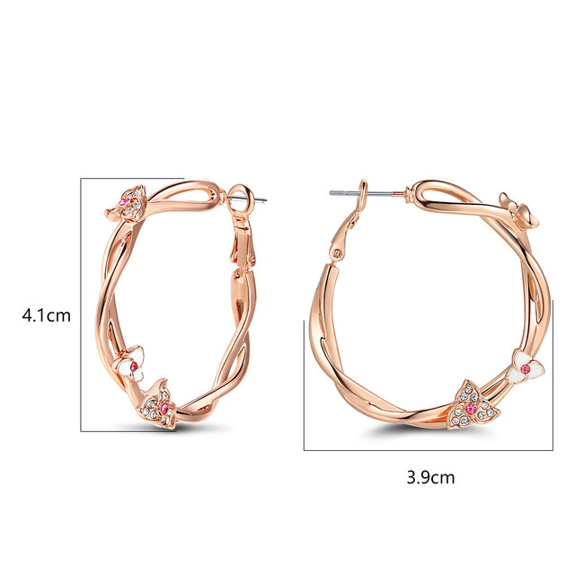 Rose Gold Plated Flower Hoop Earrings with Pink Rhinestone