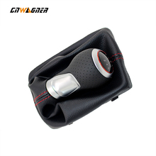 For Audi A4 S4 B8 8K A5 8T Q5 8R S Line 07-15  shift knobs 5 GEAR 6 Speed Leather RED LINE Gear Shift Knob Chrome /Red Ring