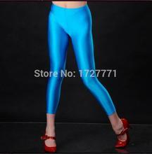 (LS464)Blue Shiny Lycra Spandex Opaque Tights Unisex original Fetish Zentai Leggings Pants