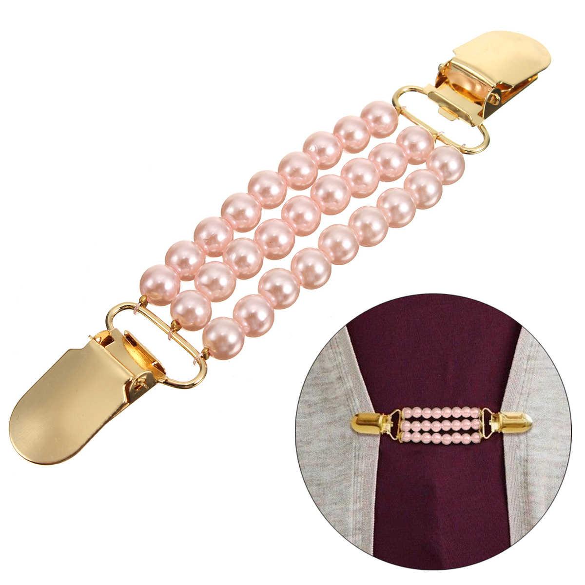 Утка Клипы кардиган клип Гибкая бисером Перл контактный брошь шаль-рубашка свитер воротник пряжки Для женщин Аксессуары для одежды