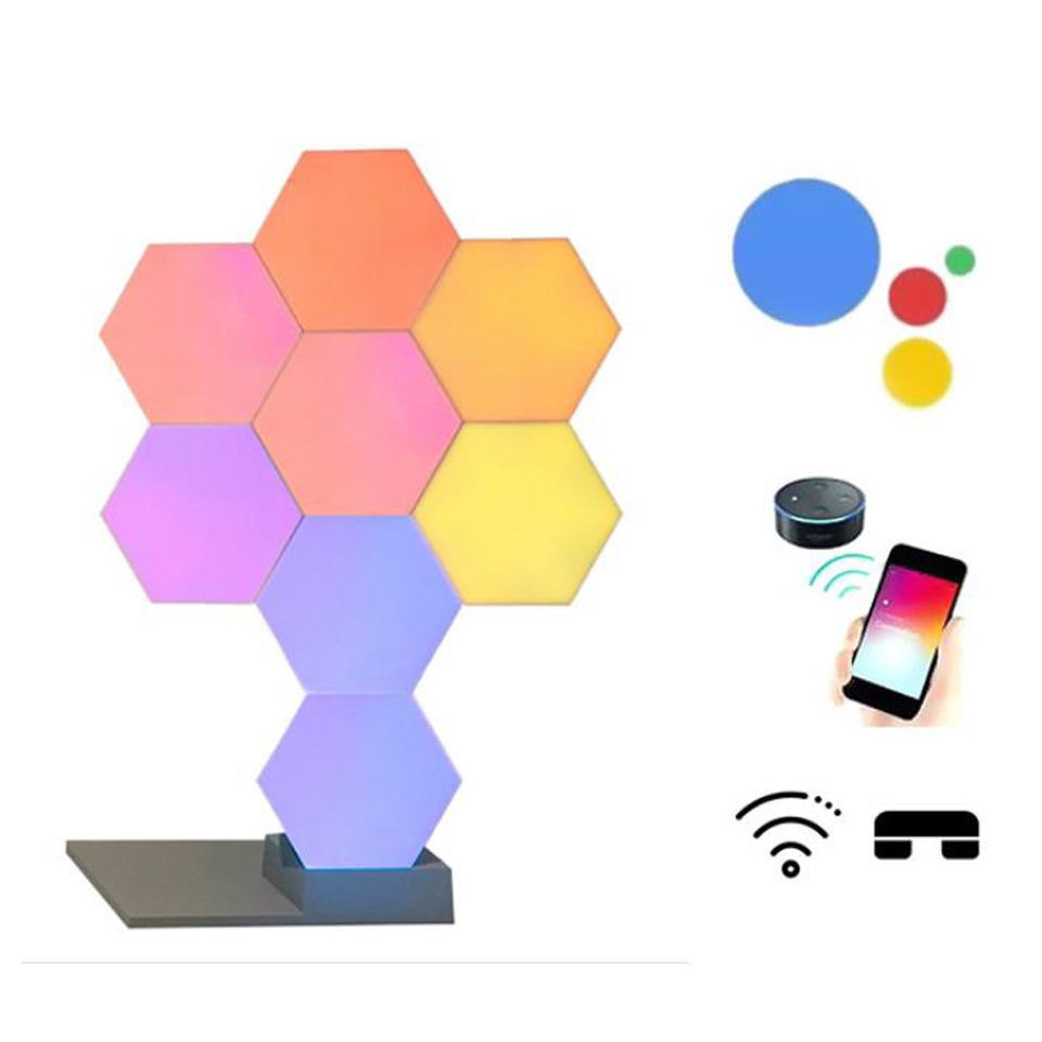 2019 New Quantum Lamp DIY LED Night Light Creative Geometry Assembly Smart APP Control Google Home Amazon Alexa Lamp Life Smart