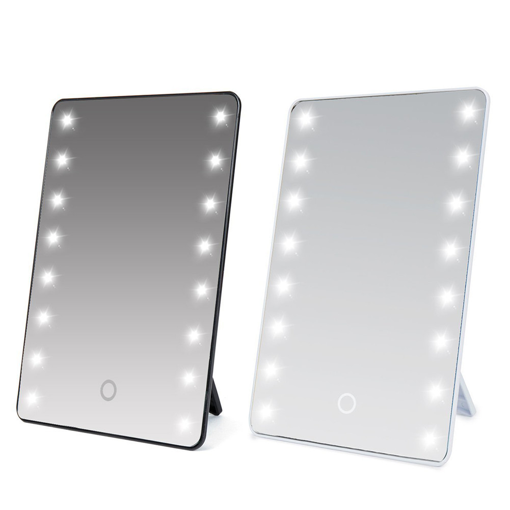 20 LEDs Light Lamp Luminous Makeup Mirror 180 Rotating Stand Square Compact Makeup Shaving Travel Mirror No Magnifying