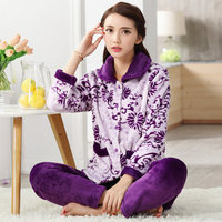 WSTNewLay Autumn Winter Warm Pyjamas Women Sleepwear Female Flannel Pajamas Sets Home Suits Sleep Lounge Pajamas