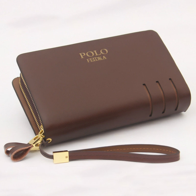 100% Brand FEIDKA POLO Genuine Leather Long Wallet Men s Double Zipper  Large Capacity Cowhide Fashion Busines Wallet Clutches 889dc97195710