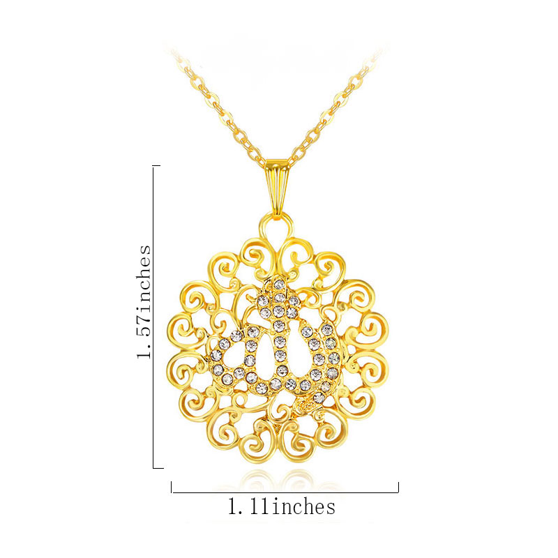 Allah muslim fine jewelry necklace Gold Color Necklaces Pendants pendant fashion crystal islamic jewellery 1